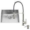 Vigo 23 inch Undermount Single Bowl 16 Gauge Stainless Steel Kitchen Sink with Edison Chrome Faucet, Grid, Strainer and Soap Dispenser