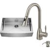 Vigo 36 inch Farmhouse Apron Single Bowl 16 Gauge Stainless Steel Kitchen Sink with Aylesbury Stainless Steel Faucet, Grid, Strainer and Soap Dispenser