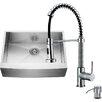 Vigo 30 inch Farmhouse Apron Single Bowl 16 Gauge Stainless Steel Kitchen Sink with Edison Chrome Faucet, Grid, Strainer and Soap Dispenser