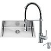 Vigo 30 inch Undermount Single Bowl 16 Gauge Stainless Steel Kitchen Sink with Edison Chrome Faucet, Grid, Strainer and Soap Dispenser