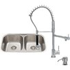 Vigo 32 inch Undermount 50/50 Double Bowl 18 Gauge Stainless Steel Kitchen Sink with Zurich Chrome Faucet, Two Grids, Two Strainers and Soap Dispenser