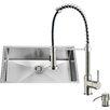 Vigo 32 inch Undermount Single Bowl 16 Gauge Stainless Steel Kitchen Sink with Edison Stainless Steel Faucet, Grid, Strainer, Colander and Soap Dispenser