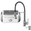 Vigo 23 inch Undermount Single Bowl 18 Gauge Stainless Steel Kitchen Sink with Edison Chrome Faucet, Grid, Strainer and Soap Dispenser