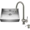 Vigo 30 inch Farmhouse Apron Single Bowl 16 Gauge Stainless Steel Kitchen Sink with Gramercy Stainless Steel Faucet, Grid, Strainer and Soap Dispenser