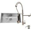 Vigo 32 inch Undermount Single Bowl 16 Gauge Stainless Steel Kitchen Sink with Zurich Stainless Steel Faucet, Grid, Strainer, Colander and Soap Dispenser