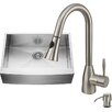 Vigo 30 inch Farmhouse Apron Single Bowl 16 Gauge Stainless Steel Kitchen Sink with Aylesbury Stainless Steel Faucet, Grid, Strainer and Soap Dispenser