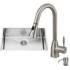 Vigo 30 inch Undermount Single Bowl 18 Gauge Stainless Steel Kitchen Sink with Aylesbury Stainless Steel Faucet, Grid, Strainer and Soap Dispenser