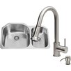 Vigo 31 inch Undermount 70/30 Double Bowl 18 Gauge Stainless Steel Kitchen Sink with Harrison Stainless Steel Faucet, Two Grids, Two Strainers and Soap Dispenser