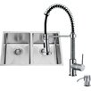 Vigo 29 inch Undermount 50/50 Double Bowl 16 Gauge Stainless Steel Kitchen Sink with Edison Chrome Faucet, Two Grids, Two Strainers and Soap Dispenser