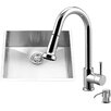 Vigo 23 inch Undermount Single Bowl 16 Gauge Stainless Steel Kitchen Sink with Harrison Chrome Faucet, Grid, Strainer and Soap Dispenser
