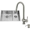Vigo 29 inch Undermount 70/30 Double Bowl 16 Gauge Stainless Steel Kitchen Sink with Gramercy Stainless Steel Faucet, Two Grids, Two Strainers and Soap Dispenser