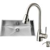 Vigo 32 inch Undermount Single Bowl 16 Gauge Stainless Steel Kitchen Sink with Graham Stainless Steel Faucet, Grid, Strainer and Soap Dispenser