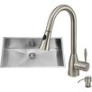 Vigo 32 inch Undermount Single Bowl 16 Gauge Stainless Steel Kitchen Sink with Aylesbury Stainless Steel Faucet, Grid, Strainer, Colander and Soap Dispenser