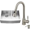 Vigo 33 inch Farmhouse Apron 60/40 Double Bowl 16 Gauge Stainless Steel Kitchen Sink with Aylesbury Stainless Steel Faucet, Two Grids, Two Strainers and Soap Dispenser