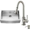 Vigo 33 inch Farmhouse Apron Single Bowl 16 Gauge Stainless Steel Kitchen Sink with Astor Stainless Steel Faucet, Grid, Strainer and Soap Dispenser