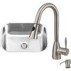 Vigo 23 inch Undermount Single Bowl 18 Gauge Stainless Steel Kitchen Sink with Aylesbury Stainless Steel Faucet, Grid, Strainer and Soap Dispenser