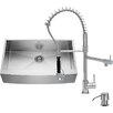 Vigo 36 inch Farmhouse Apron Single Bowl 16 Gauge Stainless Steel Kitchen Sink with Zurich Chrome Faucet, Grid, Strainer and Soap Dispenser