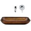Vigo Rectangular Russet Glass Vessel Bathroom Sink and Olus Wall Mount Faucet with Pop Up