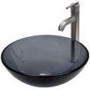 Vigo Sheer Black Glass Vessel Bathroom Sink and Seville Vessel Faucet with Pop Up