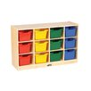 ECR4kids Birch 12 Cubby Tray Cabinet with Scoop Front Bins