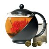 Primula Half Moon 1.25-qt. Glass Teapot and Lid with Stainless Steel Infuser and 3 Green Tea Flower