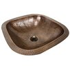 "Nantucket Sinks Brightwork Home 16.25"" Hand Hammered Square Undermount Bathroom Sink with Overflow"
