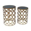 Crestview Collection Monaco 2 Piece Gold and Black Mirror Table Set