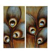 Crestview Collection 'Lazer Peacock 1 & 2' 2 Piece Painting Print on Canvas Set