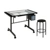 Studio Designs Vision 2-Piece Craft Station and Glass Drafting Table with Stool
