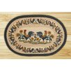 Earth Rugs Country Morning Hand Print Multi Oval Area Rug