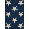 Dash and Albert Rugs Star Hand Woven Blue/White Indoor/Outdoor Area Rug