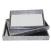 Cheungs 3 Piece Spackle Mirror Tray Set