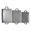 Cheungs 3 Piece Straight Side Metal Tray Set with Rope Handles