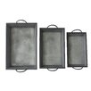Cheungs 3 Piece Metal Tapered Tray Set with Side Handles