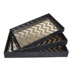 Cheungs 3 Piece Tray with Mirror Base with Chevron Pattern Overlay Set