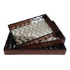 Cheungs 3 Piece Wooden Tray with Mirror Base Set