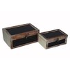 Cheungs 2 Piece Wooden Box with Black Painted Glass Set