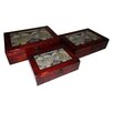 Cheungs 3 Piece Wood Box with Glass Top Map Print Set