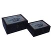 Cheungs 2 Piece Chagrin Box with Crown Etched Glass Top Set