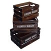"""Cheungs 3 Piece Wood Crate Set with """"Farmers Market"""" Labeled"""