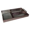 Cheungs Chagrin Compartment Tray with Chrome Handle