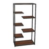 "Cheungs Metal and Wood Open Storage 39.7"" H Five Shelf Shelving Unit"