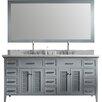 """Ariel Bath Kensington 73"""" Double Bathroom Vanity Set with Mirror"""