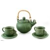 Novica Putu Oka Mahendra 3 Piece Ceramic and Rattan Tea Set