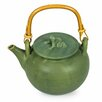 Novica Putu Oka Mahendra Ceramic and Rattan Frog Song Hand Crafted Teapot