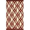nuLOOM Brilliance Red Elegant Trellis with Fringe Area Rug