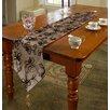 Violet Linen Venetian Vintage Embroidered Floral Table Runner
