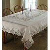 Violet Linen Imperial Embroidered Vintage Lace Tablecloth