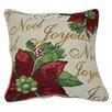 Violet Linen Decorative Christmas Poinsettias Script Design Tapestry Throw Cover