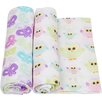 Miracle Blanket Owls and Butterflies 2 Piece Swaddle Blanket Set